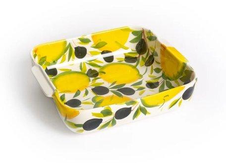 Ovenschaal vierkant met citroenen en olijven 22 x 25 cm | EWCI01 | Piccobella