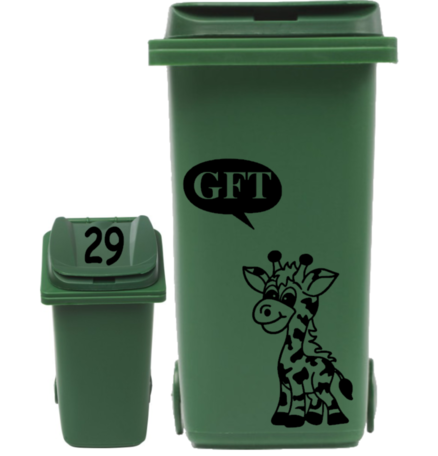 Sticker set container Giraf Gft tekst + huisnummer deksel | Rosami Decoratiestickers