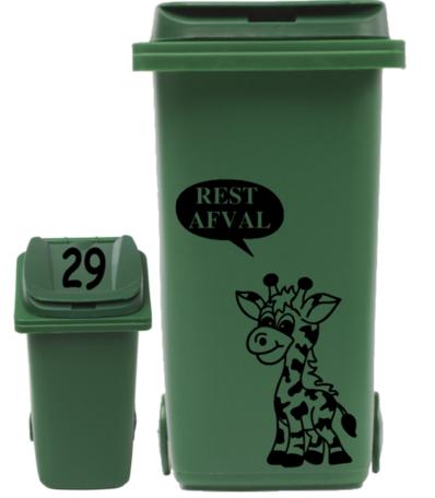 Sticker set container Giraf restafval tekstballon + huisnummer deksel | Rosami Decoratiestickers