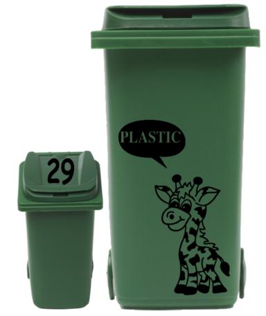 Sticker set container Giraf plastic tekstballon + huisnummer deksel | Rosami Decoratiestickers