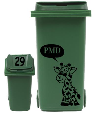 Sticker set container Giraf PMD tekstballon + huisnummer deksel | Rosami Decoratiestickers