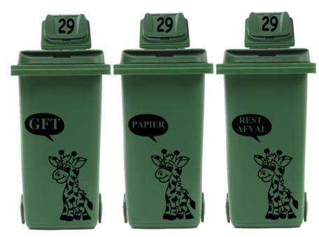 Voordeelset containersticker Giraf GFT Rest Papier + 3 x huisnummer deksel | Rosami Decoratiestickers
