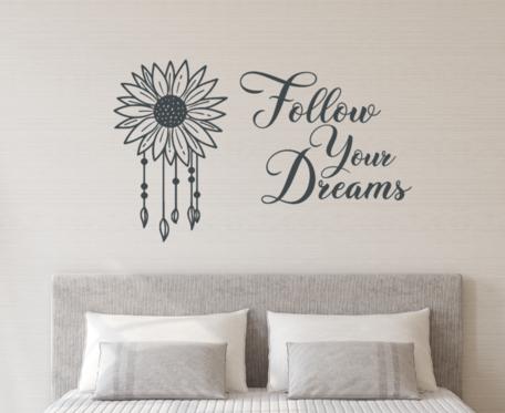 Muursticker Follow your dreams dromenvanger zonnebloem   Rosami Decoratiestickers