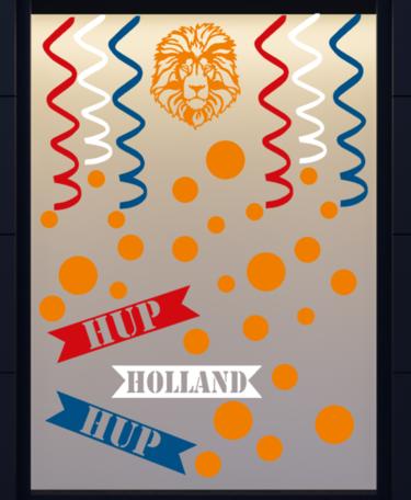35 delige voetbal EK WK sticker set herbruikbaar serpentine, confetti hup holland leeuw   Rosami Decoratiestickers