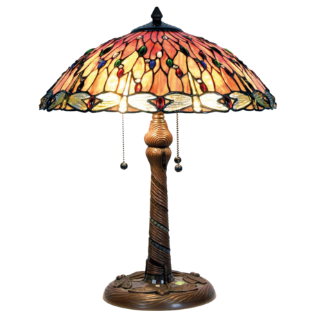 Tafellamp Tiffany ø 45*56 cm E27/max 3*60W Rood | 5LL-5466 | Clayre & Eef