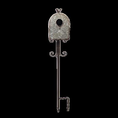 Tuinprikker vogelhuis 13*22*85 cm Grijs   5Y0835   Clayre & Eef
