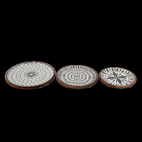 Decoratieve schaal (3) ø 28*2 / ø 23*2 / ø 20*2 cm Multi | 6H1976 | Clayre & Eef
