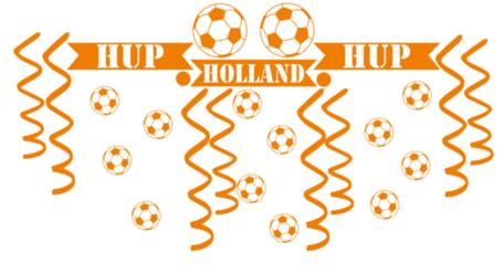 27 delige voetbal EK WK sticker set herbruikbaar serpentine, confetti hup holland hup   Rosami Decoratiestickers