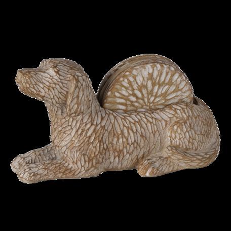 Decoratie hond met onderzetters (4) 12*9*21 cm Bruin   6PR3396   Clayre & Eef