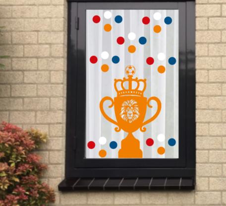 Voetbal EK WK (raam) sticker set herbruikbaar Beker & Confetti   Rosami Decoratiestickers