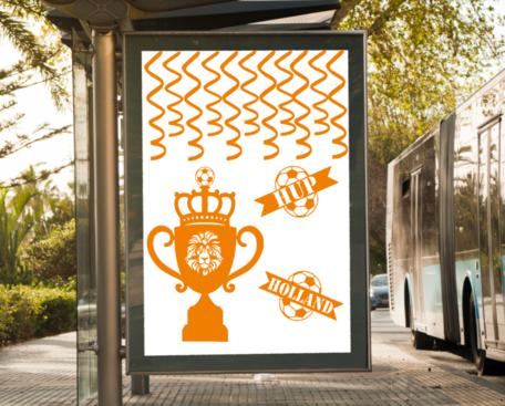 14 delige voetbal EK WK sticker set herbruikbaar serpentine, hup holland beker leeuw   Rosami Decoratiestickers
