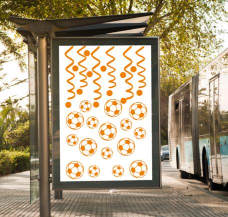 34 delige voetbal EK WK sticker set herbruikbaar serpentine, confetti & voetballen   Rosami Decoratiestickers