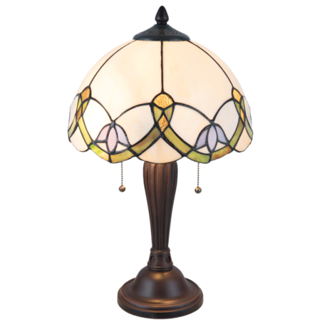 Tafellamp Tiffany ø 30*50 cm E27/max 2*40W Wit | 5LL-5918 | Clayre & Eef