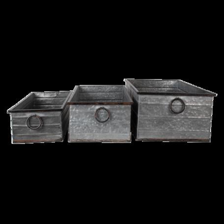 Decoratie planthouder (set van 3) 65*32*20 / 59*27*17 / 53*22*14 cm Grijs | 5Y0872 | Clayre & Eef