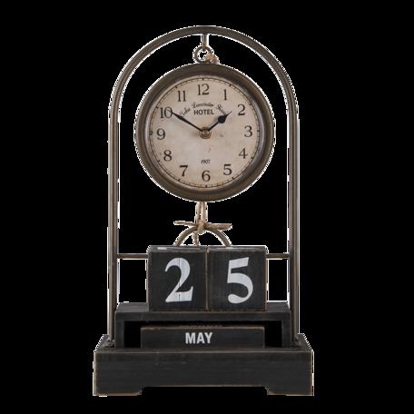 Tafelklok met kalender 23*12*39 cm Zwart | 6KL0716 | Clayre & Eef
