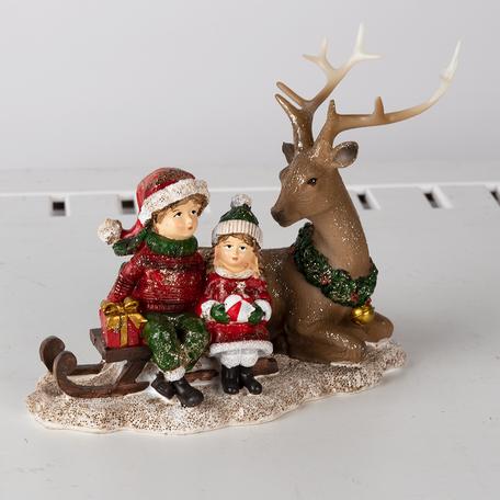 Decoratie kinderen met rendier 17*11*16 cm Multi   6PR4674   Clayre & Eef