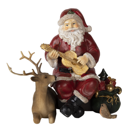 Decoratie kerstman met rendier 18*12*16 cm Multi | 6PR4713 | Clayre & Eef