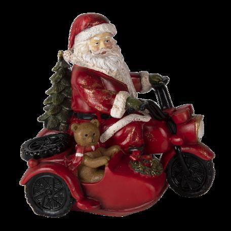 Decoratie kerstman op motor 19*14*17 cm Rood | 6PR4719 | Clayre & Eef