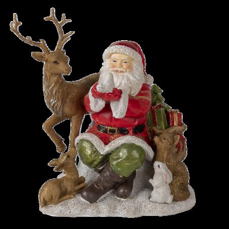 Decoratie kerstman met dieren 18*13*19 cm Multi | 6PR4721 | Clayre & Eef