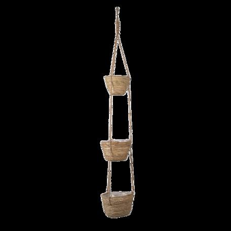 Manden hangend verticaal (set van 3) (3) ø18*14 / 17*13 / 15*12  cm Bruin | 6RO0524 | Clayre & Eef