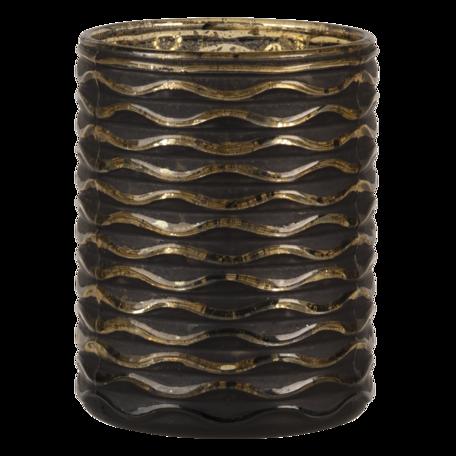 Waxinelichthouder ø 8*10 cm Zwart   6GL3228   Clayre & Eef