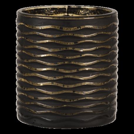 Waxinelichthouder ø 7*8 cm Zwart   6GL3229   Clayre & Eef