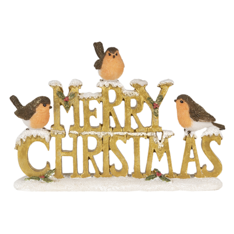 Decoratie Merry Xmas 21*4*13 cm Goudkleurig | 6PR3466 | Clayre & Eef