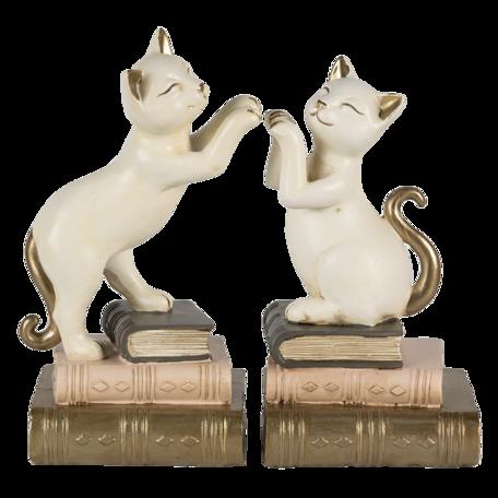 Boekensteun kat (set van 2) 20*8*19 cm Multi   6PR4624   Clayre & Eef