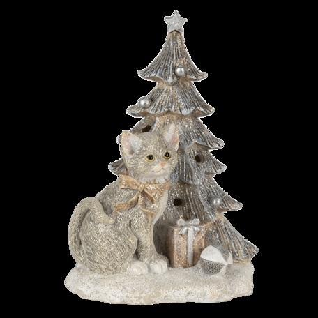 Decoratie kat bij kerstboom 12*9*16 cm LED Grijs   6PR4629   Clayre & Eef