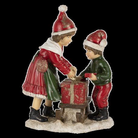 Decoratie kinderen met slee 15*10*20 cm Multi | 6PR4668 | Clayre & Eef
