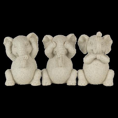Decoratie olifanten horen, zien en zwijgen 19*6*10 cm Grijs | 6PR4680 | Clayre & Eef