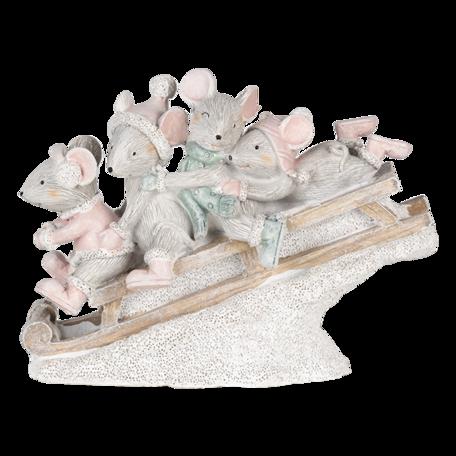 Decoratie muizen op slee 15*5*11 cm Multi   6PR4709   Clayre & Eef