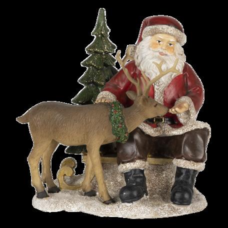 Decoratie kerstman met rendier 17*14*17 cm Multi | 6PR4711 | Clayre & Eef