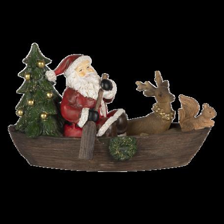 Decoratie kerstman in bootje 22*10*13 cm Multi | 6PR4715 | Clayre & Eef
