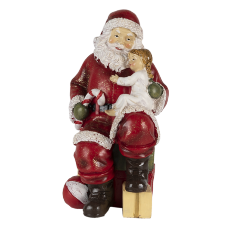 Decoratie kerstman met kind 9*9*18 cm Multi | 6PR4720 | Clayre & Eef