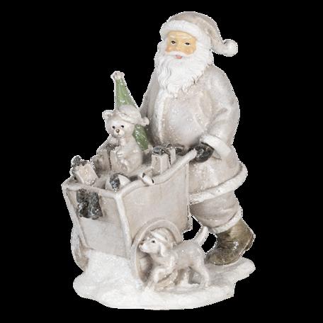 Decoratie kerstman met kar 12*8*15 cm Zilverkleurig | 6PR4728 | Clayre & Eef