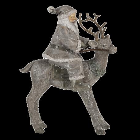 Decoratie kerstman op rendier 16*8*21 cm Zilverkleurig | 6PR4730 | Clayre & Eef