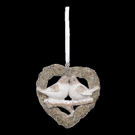 Decoratie hanger vogels 8*2*8 cm Grijs | 6PR3471 | Clayre & Eef