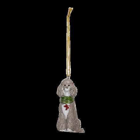 Decoratie hanger hond 5*3*8 cm Grijs | 6PR3490 | Clayre & Eef