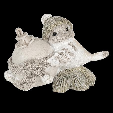 Decoratie vogel 14*9*19 cm Grijs | 6PR4626 | Clayre & Eef