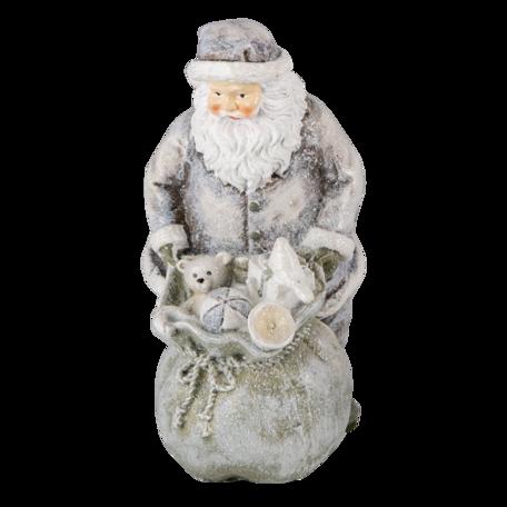 Decoratie kerstman met rendier 10*7*13 cm Zilverkleurig | 6PR4729 | Clayre & Eef