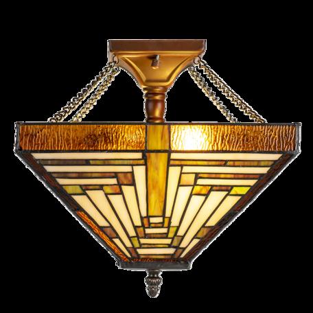 Plafondlamp Tiffany 31*31*43  cm E27/max 2*40W Groen   5LL-6087   Clayre & Eef