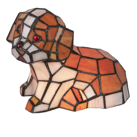 Tafellamp Tiffany hond 25*14*17 cm E14/max 1*25W Creme | 5LL-6089 | Clayre & Eef