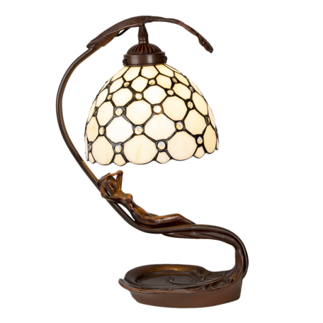 Tafellamp Tiffany 28*20*41 cm E14/max 1*25W Creme | 5LL-6097 | Clayre & Eef