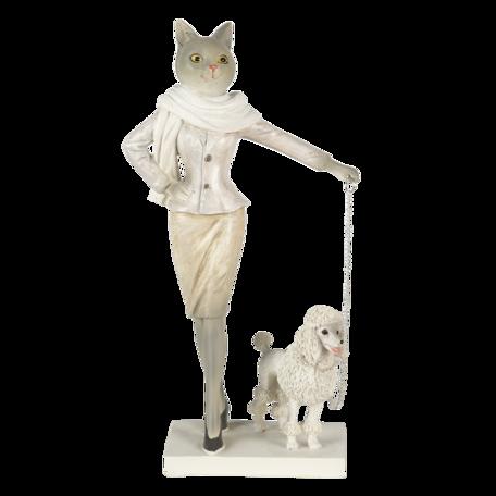 Decoratie kat met hond 13*7*24 cm Multi | 6PR3500 | Clayre & Eef