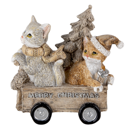 Decoratie hond en kat 11*6*11 cm Multi | 6PR4635 | Clayre & Eef