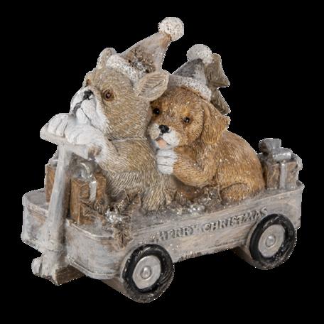 Decoratie honden in kar 10*6*9 cm Multi | 6PR4637 | Clayre & Eef