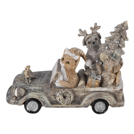Decoratie dieren in auto 16*8*11 cm Multi | 6PR4639 | Clayre & Eef