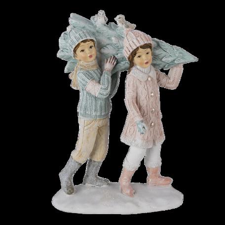Decoratie kinderen met kerstboom 12*6*15 cm Multi   6PR4662   Clayre & Eef