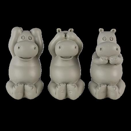 Decoratie nijlpaarden horen, zien en zwijgen 15*6*9 cm Grijs | 6PR4679 | Clayre & Eef